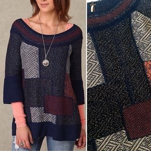 Free People blue patchwork quilt sweater tunic